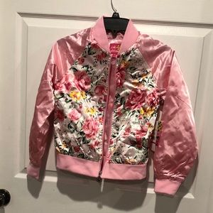 NWT-PINK PLATINUM GIRLS FLORAL SATIN BOMBER JACKET